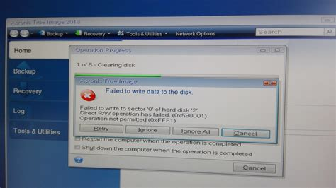 failed to write data to disk (Acronis True Image 2018