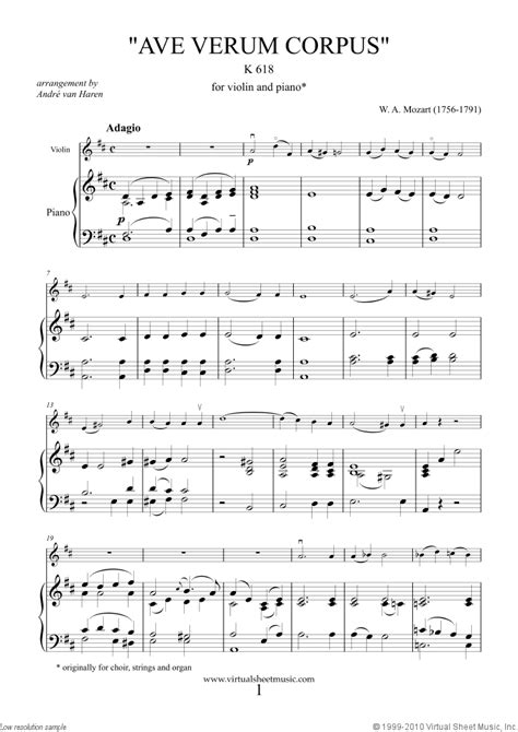 Mozart - Ave Verum Corpus sheet music for violin and piano