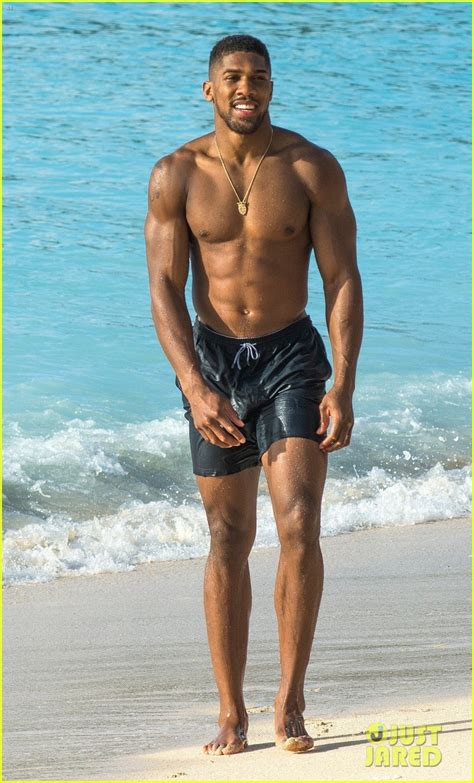 Boxer Anthony Joshua Looks Ripped at the Beach in Barbados