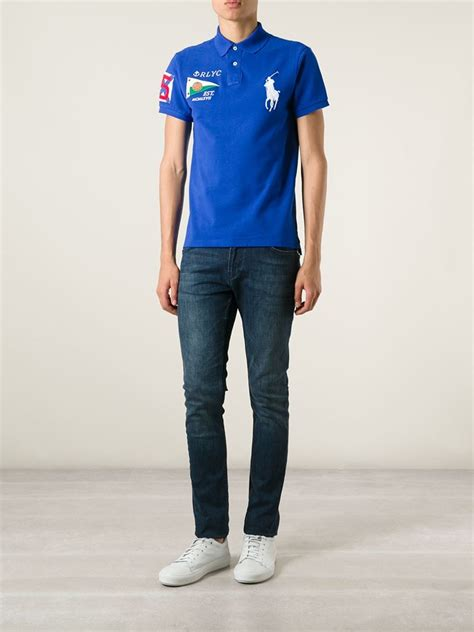 Polo Ralph Lauren Embroidered Logo Polo Shirt in Blue for